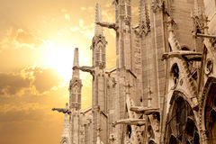 Notre Dame of Paris at sunset. Notre Dame, North facade detail. Paris, France Stock Photo
