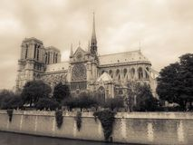 Notre Dame Paris Under Cloudy Sky Royalty Free Stock Photography