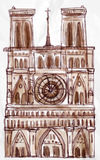 Notre dame Paris vector. For your ideas Stock Photography