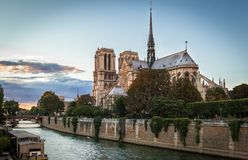 Notre Dame, Paris. View of Notre Dame de Paris at sunset Stock Images