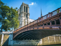 Notre Dame - Paris. View on Notre Dame Towers from under a bridge Stock Photography