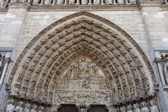 Notre dame portico. Portico and tympanum of notre dame cathedral stock photography