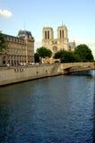 Notre Dame and River Seine stock photos