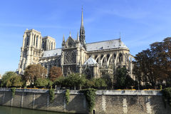 Cathedral Notre Dame River Seine Paris France, side view Stock Photography