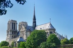 Notre dame from river seine Stock Images