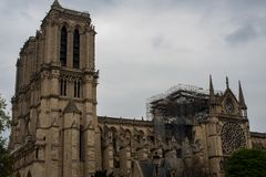 Notre-Dame Roof Damage royalty free stock photography