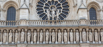 Notre Dame Rose Window and Freize Closeup Stock Image