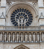 Notre Dame Rose Window and Freize Stock Photos