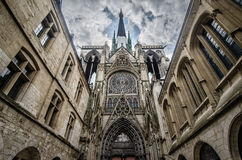 Notre-dame in Rouen France. Wide angel Royalty Free Stock Images