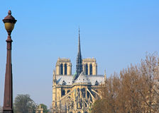 Notre Dame, seen from a bridge in Paris Royalty Free Stock Photography