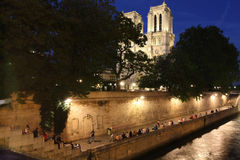 Notre Dame and Seine Embankment Royalty Free Stock Photography
