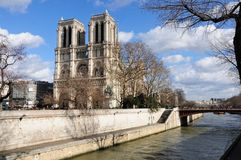 Notre Dame and the Seine River Stock Photos
