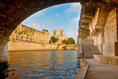 Notre Dame and Seine river Royalty Free Stock Photos