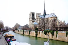 Notre Dame and Seine river Royalty Free Stock Images