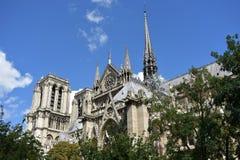 Notre Dame Spire, La Fleche und h?lzerne D?cher vor dem Feuer Paris, Frankreich stockbild