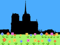 Notre Dame in spring. Notre Dame Paris with springtime flowers in bloom illustration Stock Photos