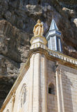 Notre Dame statue on top of the Notre Dame de Rocamadour chapel in Episcopal City of Rocamadour, France Stock Photography