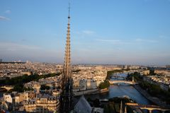 Notre-Dame steeple in summer Royalty Free Stock Photography