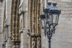 Notre-Dame-Straatlantaarn Stock Foto's