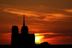 Notre Dame at sunset Stock Photography
