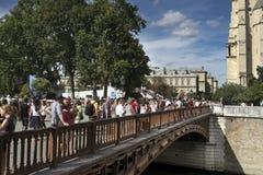 Notre Dame turist- kö Fotografering för Bildbyråer