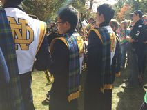 Notre Dame University band members. On a fall day in Indiana royalty free stock image