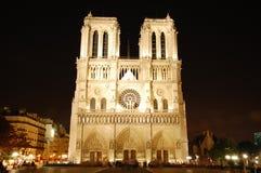 Notre Dame vid natt royaltyfria bilder