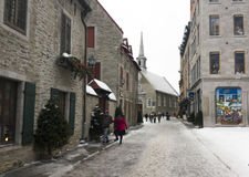Notre Dame Vieux魁北克视图在老魁北克市,加拿大 免版税库存图片