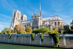 Notre Dame, view from Seine river Royalty Free Stock Images