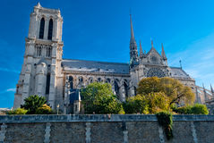 Notre Dame, view from Seine river Stock Images