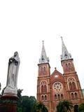 Notre Dame Virgin Mary Ho Chi Minh City, Vietnam. Notre Dame with Virgin Mary in front in Ho Chi Minh City, Vietnam Royalty Free Stock Photos