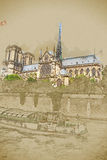Notre Dame y barco, visión desde la jábega libre illustration