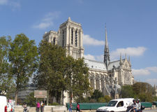 Notre Dame de Paris cathedral view from road royalty free stock image