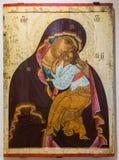 Notre Madame de tendresse, peinte sur le vieux conseil en bois, 1460s Photographie stock