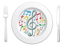 Notre nourriture sont musique Images libres de droits