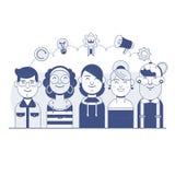 Notre succès Team Linear Design Le travail d'équipe et les affaires team, groupe de gens d'affaires Ligne mince bannière plate de Image libre de droits