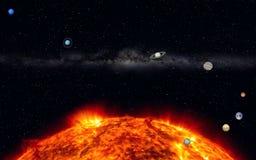 Notre système solaire avec la manière laiteuse Photographie stock libre de droits
