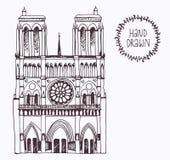 Notre tirado mão Dame de Paris, França Imagem de Stock Royalty Free