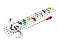 Notsystem av musik i 3Den royaltyfri illustrationer