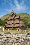 Notsystemkyrkan (träkyrkan) Borgund, Norge Arkivbild