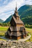 Notsystemkyrkan (träkyrkan) Borgund, Norge Arkivfoto
