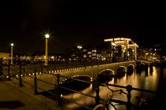 Notte 1 di Amsterdam Fotografie Stock Libere da Diritti