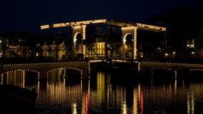 Notte 10 di Amsterdam Fotografia Stock