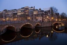 Notte 8 di Amsterdam Fotografia Stock