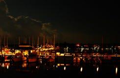Notte al porticciolo della baia di Napoli Fotografia Stock