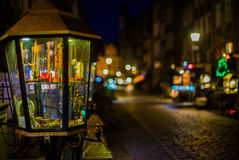 Notte Amber Street Immagini Stock