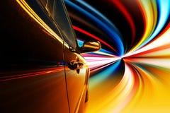 Notte, automobile ad alta velocità Fotografia Stock