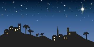 Notte Betlemme del fondo Fotografie Stock Libere da Diritti