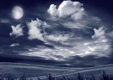Notte blu con la luna Fotografie Stock Libere da Diritti