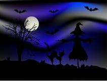 Notte blu di Halloween Fotografie Stock